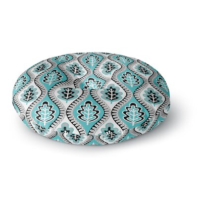 Jacqueline Milton Oak Leaf Floral Round Floor Pillow Size: 26 x 26, Color: Blue