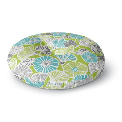 Jacqueline Milton Trumpet Vine Round Floor Pillow Size: 26 x 26, Color: Green/Blue