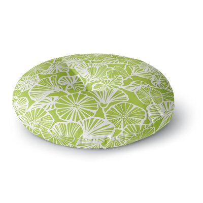 Jacqueline Milton Trumpet Vine Round Floor Pillow Size: 26 x 26, Color: Green/White