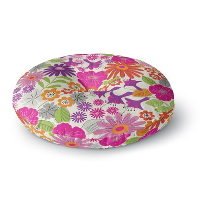Jacqueline Milton Lula Round Floor Pillow Size: 23 x 23, Color: Pink/White
