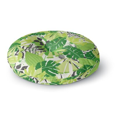 Jacqueline Milton Tropicana Round Floor Pillow Size: 23 x 23, Color: Green/White
