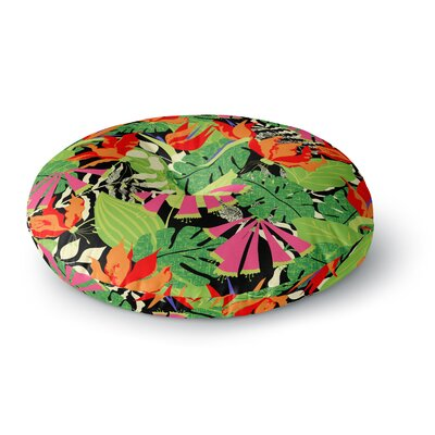 Jacqueline Milton Tropicana Round Floor Pillow Size: 23 x 23, Color: Orange/Green