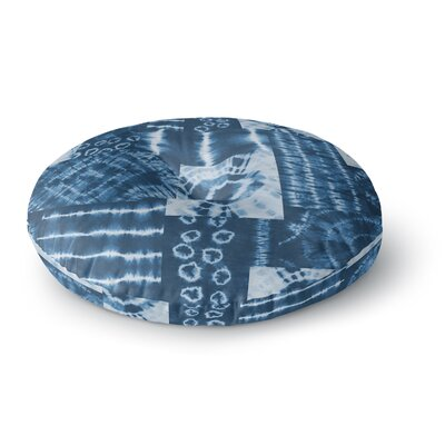 Jacqueline Milton Shibori Patchwork Indigo Abstract Mixed Media Round Floor Pillow Size: 26 x 26