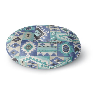 Jacqueline Milton Tribal Patch Painting Round Floor Pillow Size: 26 x 26, Color: Blue/Teal