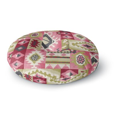 Jacqueline Milton Tribal Patch Painting Round Floor Pillow Size: 26 x 26, Color: Red/Pink