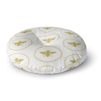 Jennifer Rizzo Busy As A Bee And Maize Nature Round Floor Pillow Size: 26 x 26, Color: White