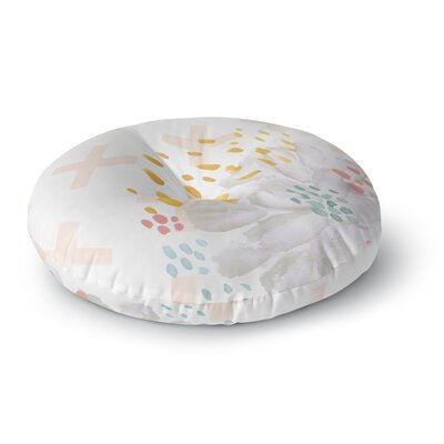 Jennifer Rizzo Bright And Pretty Floral Round Floor Pillow Size: 26 x 26, Color: Pink/White