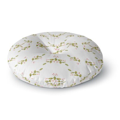Jennifer Rizzo Holiday Holly Berries Floral Round Floor Pillow Size: 26