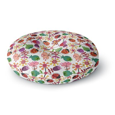 Jane Smith Garden Floral Plants Bugs Round Floor Pillow Size: 26 x 26