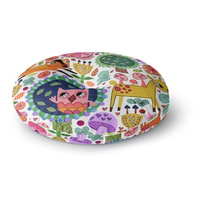 Jane Smith Woodland Critters Colorful Cartoon Round Floor Pillow Size: 26 x 26