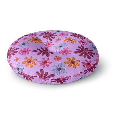 Jane Smith Woodland Floral  Flowers Round Floor Pillow Size: 26 x 26