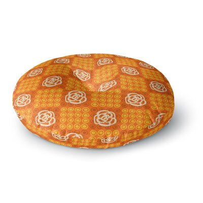 Jane Smith Polka Dot Rose Pattern Round Floor Pillow Size: 26