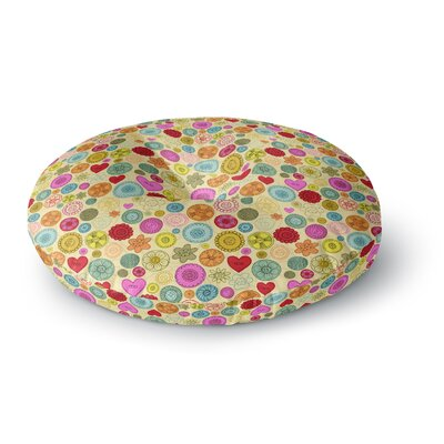Jane Smith Vintage Buttons  Polkadot Round Floor Pillow Size: 26 x 26