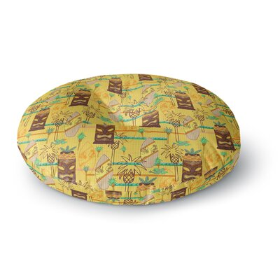 Jane Smith Surfing Tiki Pattern Round Floor Pillow Size: 23