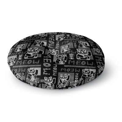 Jane Smith Meow Repeat Round Floor Pillow Size: 23 x 23