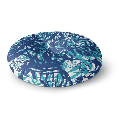 Patternmuse Inky Floral Painting Round Floor Pillow Size: 26 x 26, Color: Blue/Teal