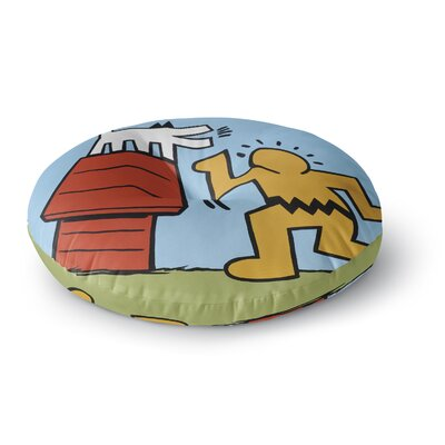 Jared Yamahata Haring Schulz Illustration Pop Art Round Floor Pillow Size: 23 x 23