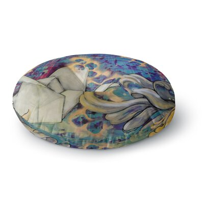 Kira Crees Peonies and Crane Round Floor Pillow Size: 23 x 23