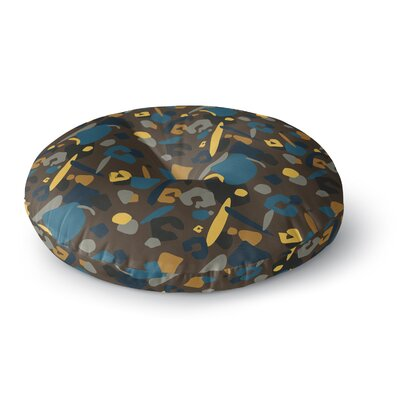 Luvprintz Abstract Leopard Round Floor Pillow Size: 23 x 23, Color: Teal/Brown