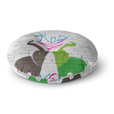 Elephants Round Floor Pillow Size: 26 x 26