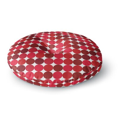 Noblefur Dots Round Floor Pillow Size: 26 x 26, Color: Red