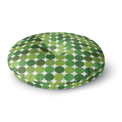 Noblefur Dots Round Floor Pillow Size: 26 x 26, Color: Green