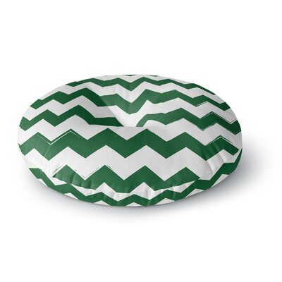 Candy Cane Chevron Round Floor Pillow Size: 23 x 23, Color: Green