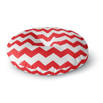 Candy Cane Chevron Round Floor Pillow Size: 23 x 23, Color: Red