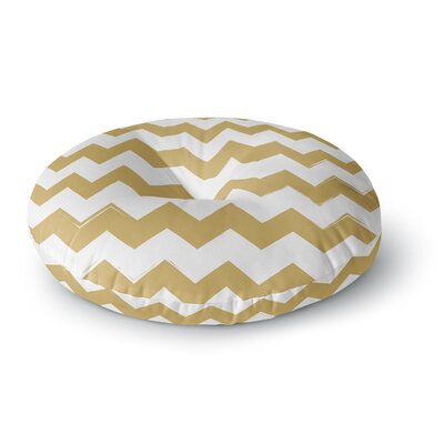 Candy Cane Chevron Round Floor Pillow Size: 26 x 26, Color: Gold