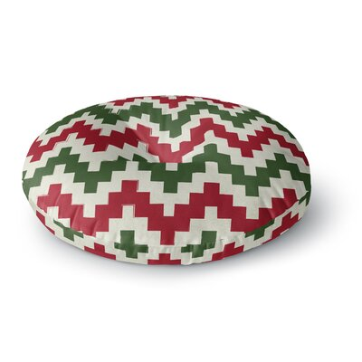 Christmas Gram Chevron Round Floor Pillow Size: 23 x 23