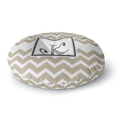 Monogram Chevron Round Floor Pillow Size: 26 x 26, Color: Tan