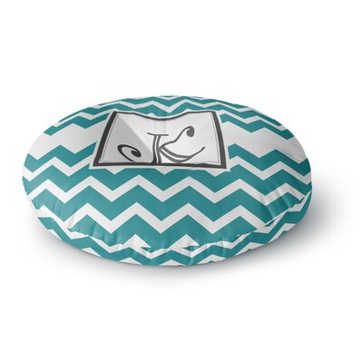 Monogram Chevron Round Floor Pillow Size: 26 x 26, Color: Teal