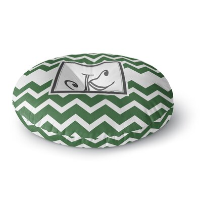 Monogram Chevron Round Floor Pillow Size: 26 x 26, Color: Green