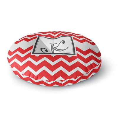 Monogram Chevron Round Floor Pillow Size: 23 x 23, Color: Red