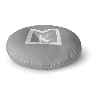 Monogram Solid Round Floor Pillow Size: 23 x 23, Color: Gray