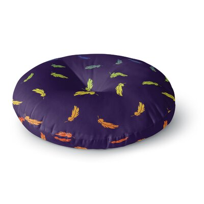 Rainbow Feathers Round Floor Pillow Size: 23 x 23