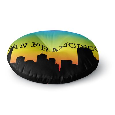 San Francisco Rainbow Round Floor Pillow Size: 23 x 23