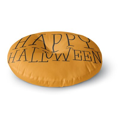 Happy Halloween - Round Floor Pillow Size: 26 x 26, Color: Orange