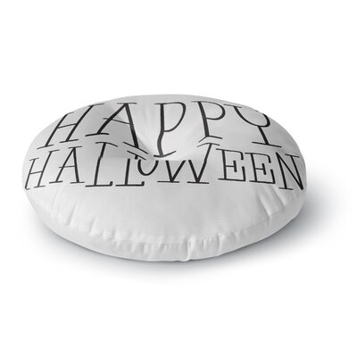 Happy Halloween - Round Floor Pillow Size: 26 x 26, Color: White