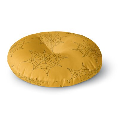Spiderwebs Round Floor Pillow Size: 26 x 26, Color: Yellow