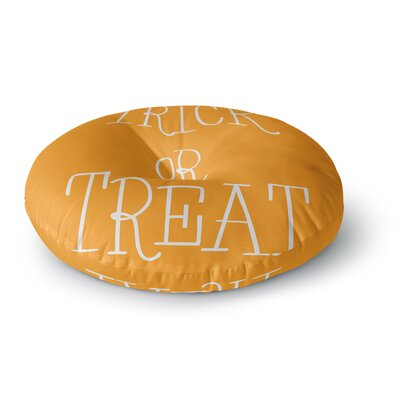 Trick or Treat - Round Floor Pillow Size: 26 x 26, Color: Brown/White
