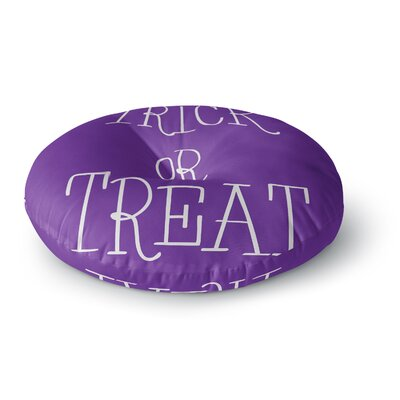 Trick or Treat - Round Floor Pillow Size: 23 x 23, Color: Purple/White