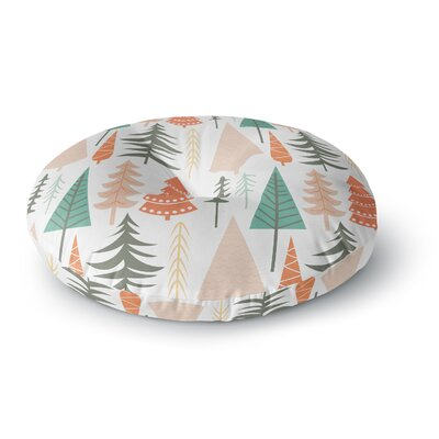 Happy Forest Round Floor Pillow Size: 26 x 26, Color: Brown/Green