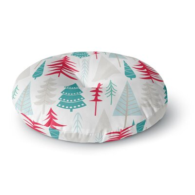 Happy Forest Round Floor Pillow Size: 26 x 26, Color: Red/Blue