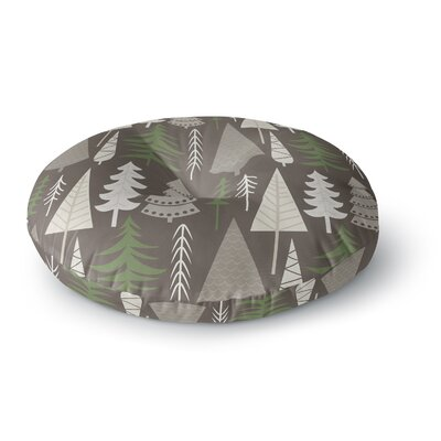 Happy Forest Round Floor Pillow Size: 26 x 26, Color: Orange/Green