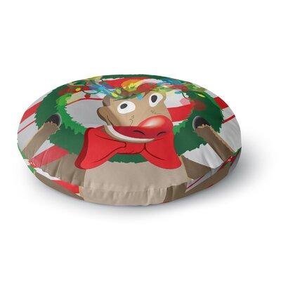 Reindeer Seasonal Round Floor Pillow Size: 26 x 26