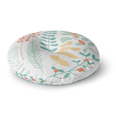 Deck the Hollies Round Floor Pillow Size: 26 x 26, Color: Brown/Green