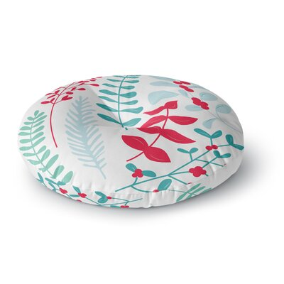 Deck the Hollies Round Floor Pillow Size: 26 x 26, Color: Red/Teal