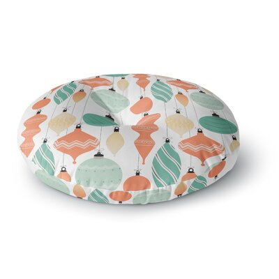 Mixed Ornaments Round Floor Pillow Size: 26 x 26, Color: Orange/Teal