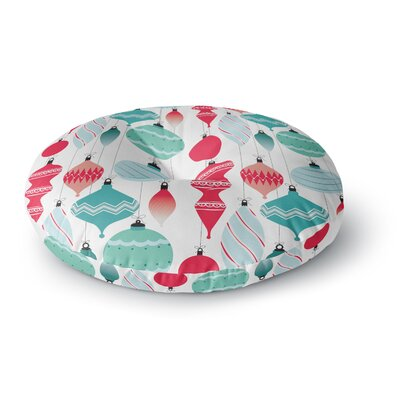 Mixed Ornaments Round Floor Pillow Size: 23 x 23, Color: Red/Blue